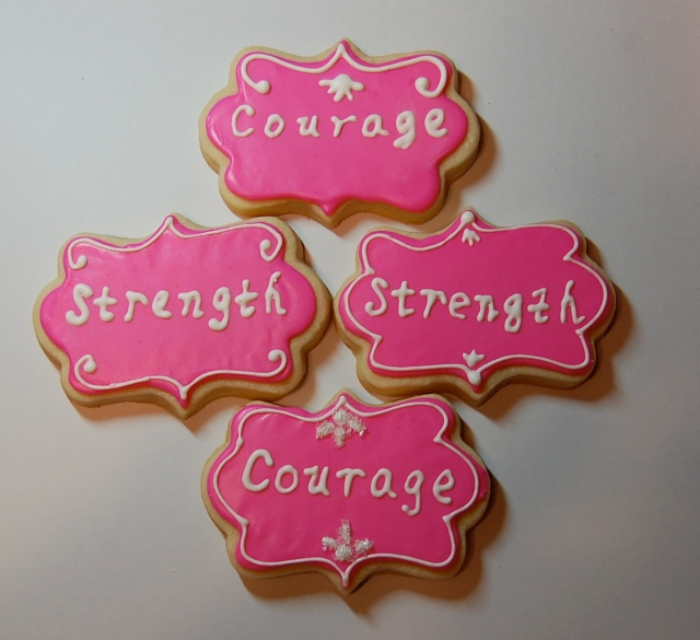 Strength & Courage Sugar Cookies - Breast Cancer Awareness