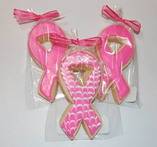 Pink Ribbon Breast Cancer Awareness Sugar Cookies