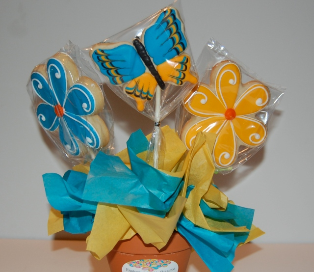 Double Sided Sugar Cookie Flower and Butterfly Bouquet - front